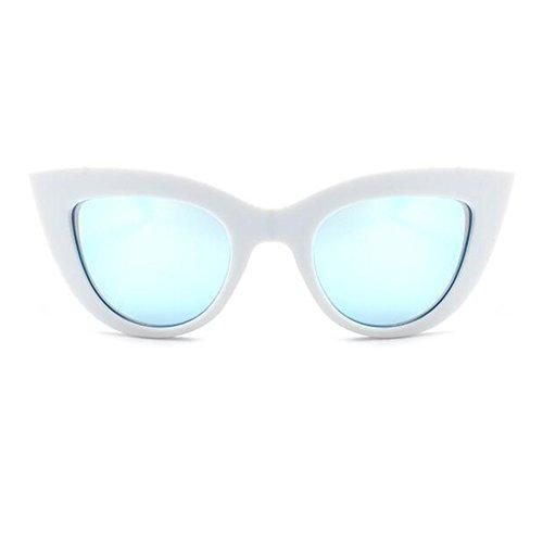 En Rétro Femmes Plastique Soleil Vintage Cadre Blanc Mirrored Yefree Cateye De Lens Bleu Lunettes ER0qwWd8x