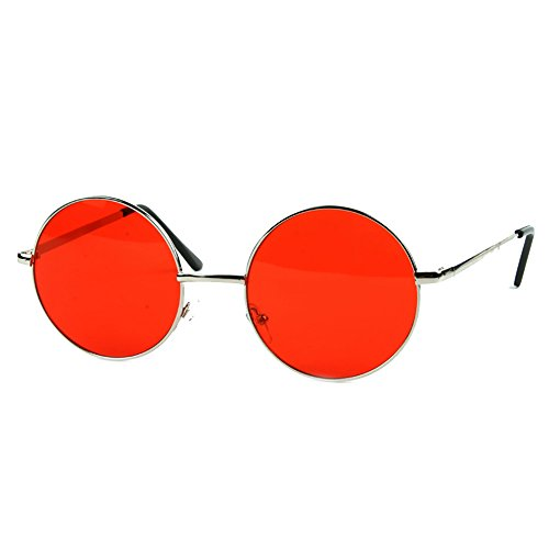 Pop Fashionwear 60's Peace Sunglasses Hippie Retro Round Frame Sunglasses (Silver - Pop Retro Sunglasses