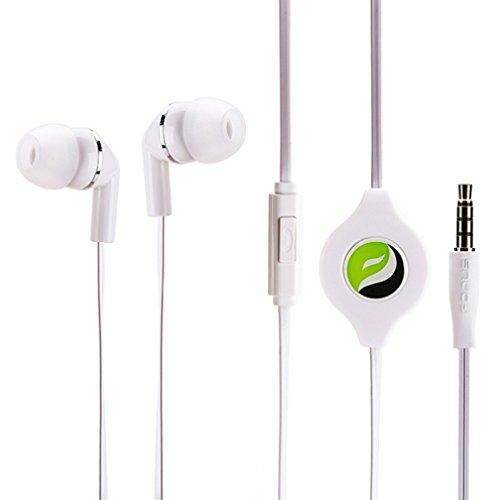 Premium Sound Retractable White Headset Earphones Dual Earbu