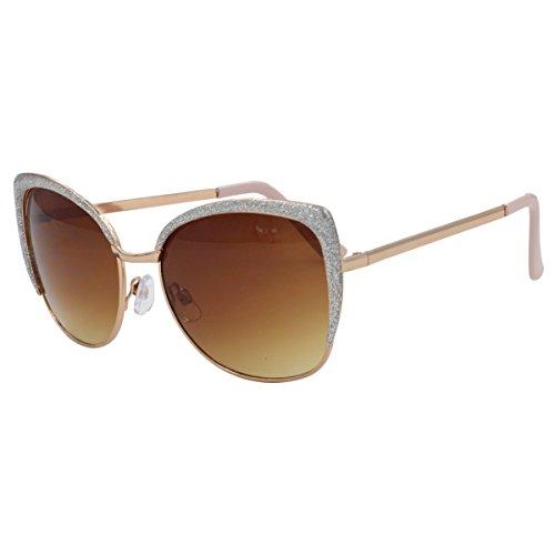 VIVIENFANG Semi-Rimless Oversized Cat Eye Sunglasses Women's Polarized Shades 86447C Silver - Cat Glitter Glasses Eye