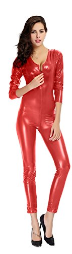 [Ensnovo Womens Metallic Lycra Spandex Round Neck Front Crotch Zipper Catsuit Red, M] (Red Jumpsuit Costume)