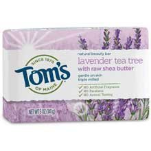 - Tom's of Maine Natural Beauty Bar Soap With Raw Shea Butter, Lavender Tea Tree, 5 Ounce, 6 Count Tom's of Maine Natural Beauty Bar Soap With Raw Shea Butter, Lavender Tea Tree, 5 Ounce, 6 Count