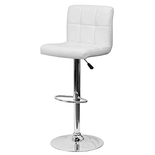 KLS14 Contemporary Style Mid-Back Barstools Quilted Design Covering 360-Degree Swivel Durable Vinyl Upholstery Seat Sturdy Steel Frame Dining Chair Bar Pub Home Office Furniture - (1) White #2238