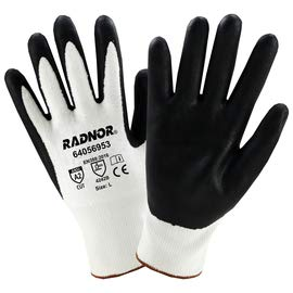 Radnor Large Radnor 13 Gauge HPPE and Nylon Cut Resistant Gloves with Foam Nitirle Coating on Palm and Fingertips (12 Pairs)