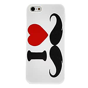 I Love Moustache Pattern Transparent Frame Hard Case for iPhone 5/5S