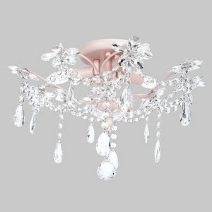 3-Light Crystal Flower Ceiling Chandelier in Pink