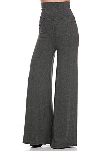 - Superline Womens Solid Palazzo Pants - Solid Modal Charcoal/Medium