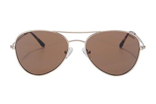 UV400 Eyeglasses Flat Style brown de Lunettes Flash SHINU de Style 72002 Lunettes de Soleil Pilot Lens Hommes Metal Lunettes Gold Mirrored Soleil AppT8nU