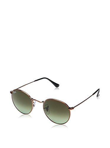 Metal Logo Aviator Sunglasses - Ray-Ban RB3447 Round Metal Sunglasses, Shiny Medium Bronze/Green Gradient, 47 mm