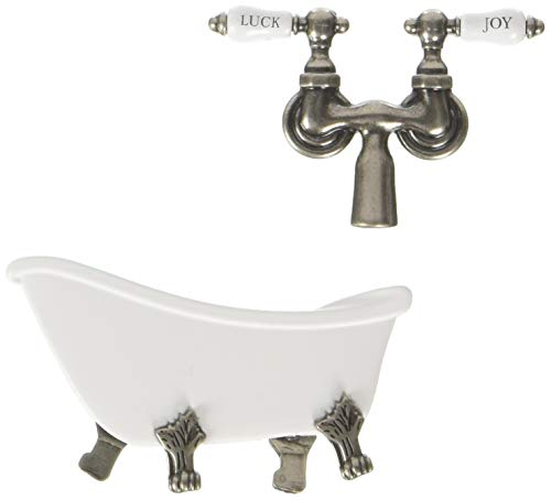 (Prima Marketing Shabby Chic Treasures Metal-Antique Clawfoot Tub with Faucet, 2-Pack)