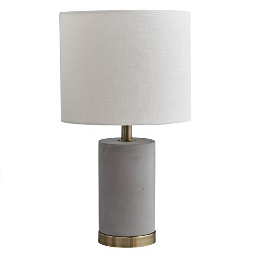 Rivet Modern Concrete Base Table Desk Lamp With Light Bulb and White Shade - 9 x 9 x 15 Inches, Grey and Brass