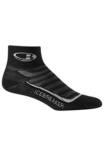 Icebreaker Women's Run+ Ultra Light Mini Socks, Medium, Black/Pearl/Black