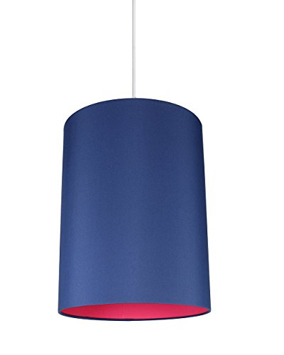 Urbanest Mona Duo Color Shade Pendant with Hanging Light Kit, Navy Blue Cotton with Fuchsia Lining, 11 1/2-inch Diameter, 15-inch Height ()