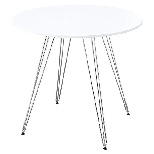Josie Round Gathering Height Dining Table in Simply White with Round Top And Chrome Legs, by Artum Hill ()