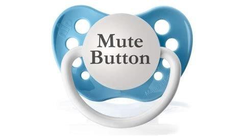 Mute Button Expression Pacifier (Light Blue)