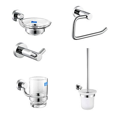 Chrome Finish 5-Piece Bathroom Accessory Set Toilet Brush Holder Inclusive by ZB Bathroom Accessory