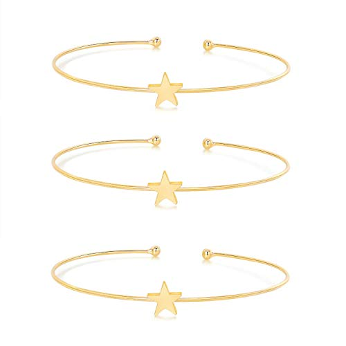 I'S ISAACSONG Yellow Gold Plated Inspirational Love Knot Stackable Open Cuff Bangle Bracelet Set for Women and Girls (Star Charm Bangle Bracelets Set)
