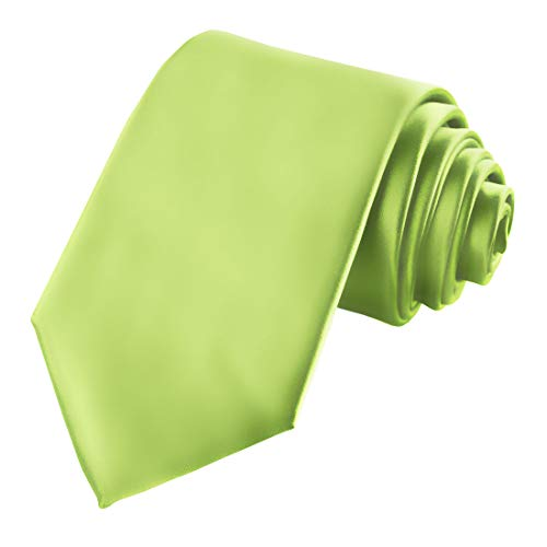 KissTies Mens Lime Green Tie Satin Necktie + Gift Box ()