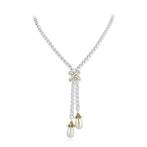 UNY designer Inspired Long Necklace Gold Cross 67cm + 5cm Imitation Pearl Vintage Antique Elegant Jewelry