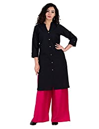 BrightJet SolidPerfect Black Cotton Women Fashion Kurti FrontSlit Kurta