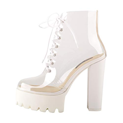 Onlymaker Women's Clear Lace Up Platform Sandals Boots Fashion Round Toe Chunky High Heel Sandals Big Size 14 White ()