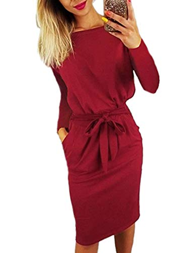 Wine Causal Kancystore Button Belt Midi Pencil Sleeve Women's Long long with Dress Red Sleeve vwpF5fwqx