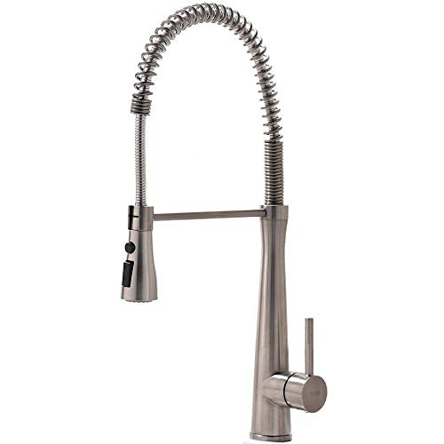 ing 360 degree Swivel Pull Out Single Handle Single Lever Stainless Steel Pull Down Prep Sprayer Kitchen Sink Faucet, Brushed Nickel Finished ()