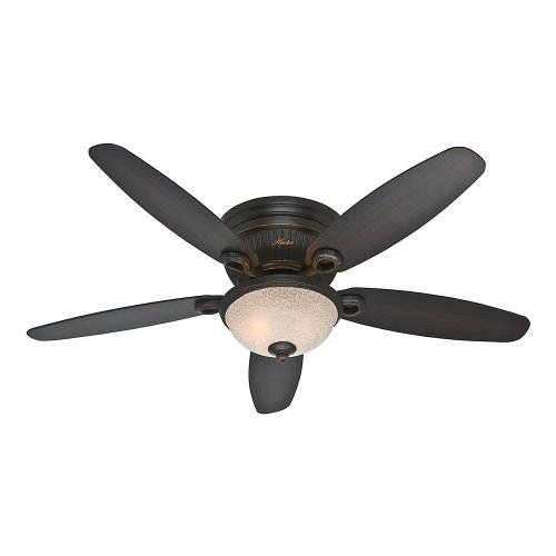 Hunter Fan Company 53253 Ashmont 52-Inch Onyx Bengal Ceiling Fan with Five Dark Walnut/Cherry Blades with a Light Kit