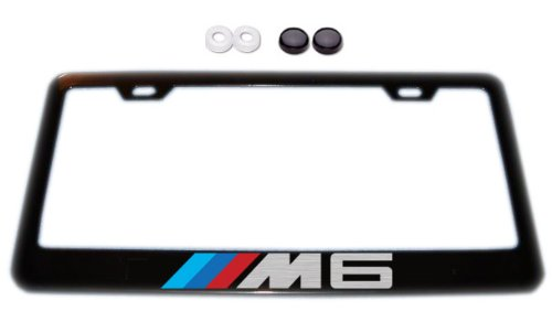 BMW M6 Black License Plate Frame w/ Screw Covers ()
