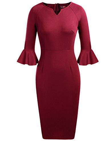 ANGGREK Fall Ladys Utterfly Sleeve V Neck Back Zip Dress Wine Red S