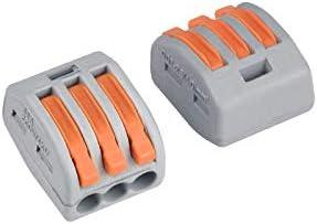 mini connecteurs rapides /à pousser Lot de 10 bornes de c/âblage universelles compactes type 222-412B