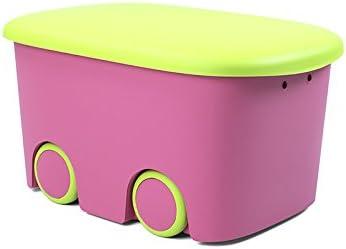 Plastiken (HLKRQ) Kids Fresh - Caja de Almacenamiento, Rosa y Pistacho, 58x38x32 cm, 1 unidad