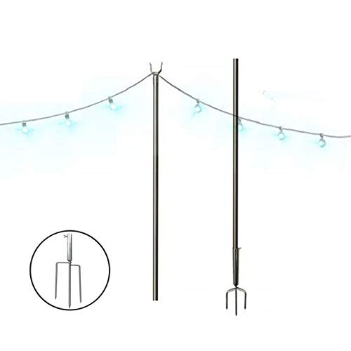 FLY HAWK Outdoor Tripod, String Light Terrace Garden Terrace Residential Cafe Wedding Decoration with 10 Feet Rust Bracket LED or Suspended Light Solar Bulb Upgrade (Stainless Steel) (Terrace Decoration)