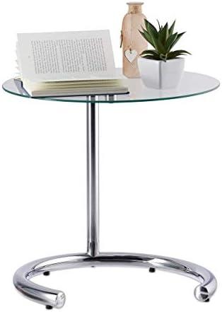 Lage Prijs Te Koop Relaxdays, zilveren koffietafel in hoogte verstelbaar tot 70 cm, ronde woonkamertafel, verchroomd staal, glasplaat 46 cm Ø, standaard  bKIJDRx