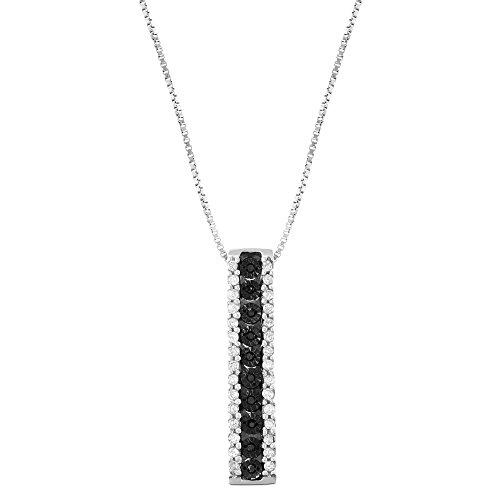 1/5 CTTW Sterling Silver miracle plate Black & White diamond Stick Pendant Necklace (I-J, Black, I1-I2)