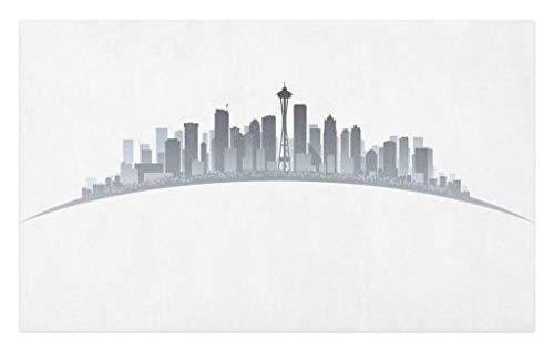 Lunarable Seattle Doormat, Silhouette of Washington City Tourist Attraction Space Needle in The Middle, Decorative Polyester Floor Mat with Non-Skid Backing, 30 W X 18 L Inches, Grey Pale Grey
