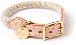 product image for Found My Animal Light TAN Rope & Leather CAT & Dog Collar
