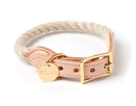 LIGHT TAN ROPE & LEATHER CAT & DOG COLLAR (Small (10–13 in))