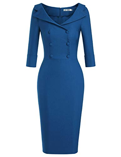 MUXXN Women's Audrey Hepburn Vintage Cut Out Neck Button Up Bodycon Cocktail Prom Dress (Navy Blue S)