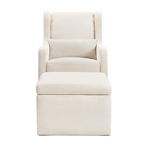 31AL75EzOHL - Carter's By Davinci Adrian Swivel Glider With Storage Ottoman In Cream Linen, Water Repellent And Stain Resistant Fabric, Greenguard Gold Certified