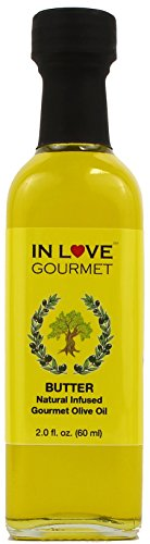 In Love Gourmet Butter Natural Flavor Infused Gourmet Olive Oil 60ML/2oz (Sample Size) Awesome Buttery Flavored Extra Virgin Olive Oil.