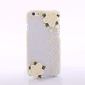 Zaki White Shell PearlsLace Flower Back Cover Case for iPhone 6