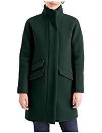 Women's Cocoon Coat in Italian Stadium-Cloth Wool, Dark Forest, 8