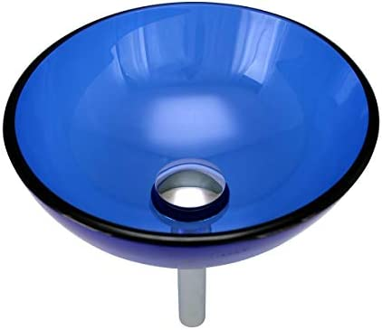 Blue Glass Vessel Sink With Drain, Mounting Ring, Tempered Glass Mini Bowl Sink Renovator s Supply