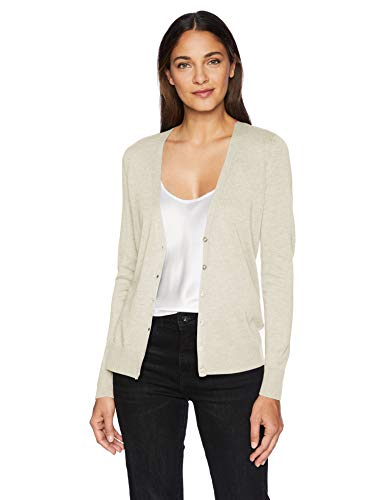 - Amazon Essentials Women's Lightweight Vee Cardigan Sweater, Oatmeal Heather, X-Large