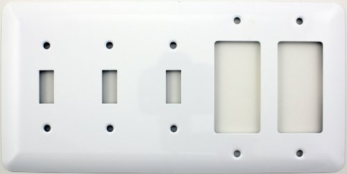 Mulberry Princess Style White Five Gang Combination Switch Plate - Three Toggle Light Switch Openings Two GFI/Rocker Opening