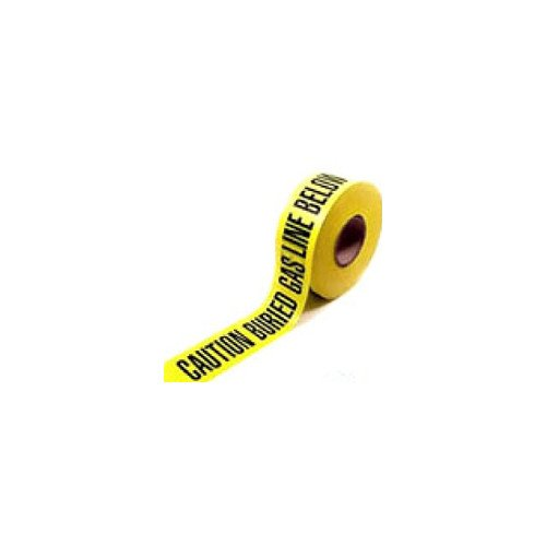 Caution Buried Gas Line Below Yellow Detectable Magnetic Burial Tape (3'' x 1000 Ft)