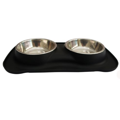 Safety Pet Bowl Dish-Pampering Pet Bowls(6 Ounce x2)For Cat Animal Feeding Dinner Water,Including 2 Set Stainless Bowls 1 No-Spill Silicone Mat and Non-Skid Silicone Bowl(black)
