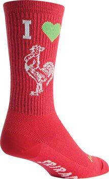 SockGuy Crew 7.5in I Heart Sriracha Cycling/Running Socks (I Heart Sriracha - L/XL) (Sriracha Socks)