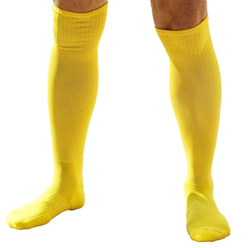 Athletic Over the Calf Compression Crew Socks for Mens and Boys (Yellow) ()